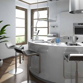 Portfolio-Modern-Kitchen with curved island