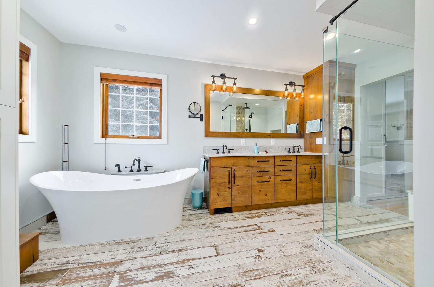 Rustic Contemporary Blended Bathroom Renovation in Calgary by Interiors with Elegance