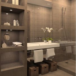 Portfolio-Transitional-Contemporary-bathroom-with-tile-shower-mosaic-tile-built-in