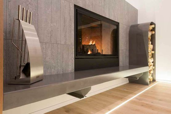 Modern Fireplace installed in custom home in Calgary by Interiors with Elegance