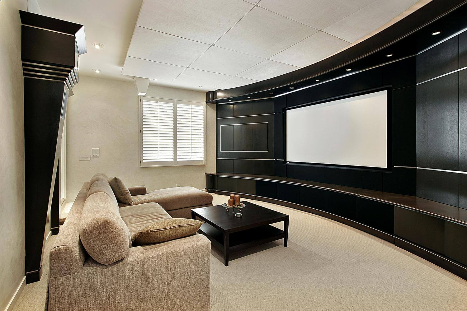 Hardwood Basement Renovation, seamless and modern. Calgary renovation by Interiors with Elegance
